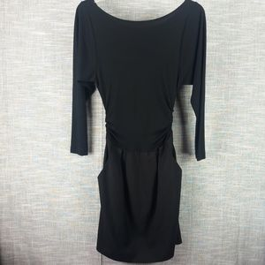 Theory Black Wool Blend Dress 4 Drop Waist Ruching